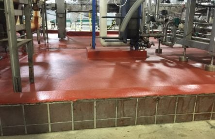 Cementitious Urethane Floor Overlay of damaged Quarry Tile